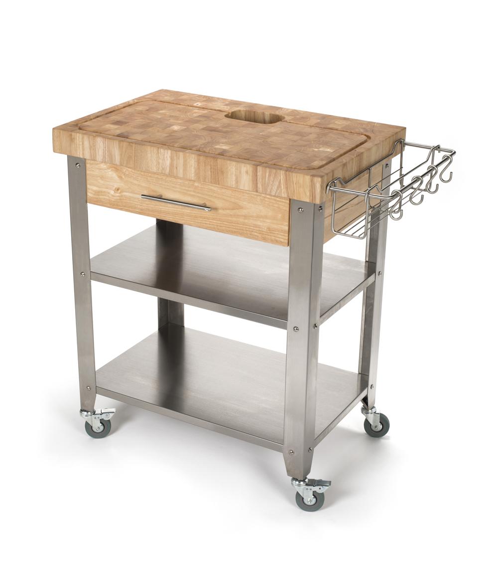 chris work station butcher block kitchen cart
