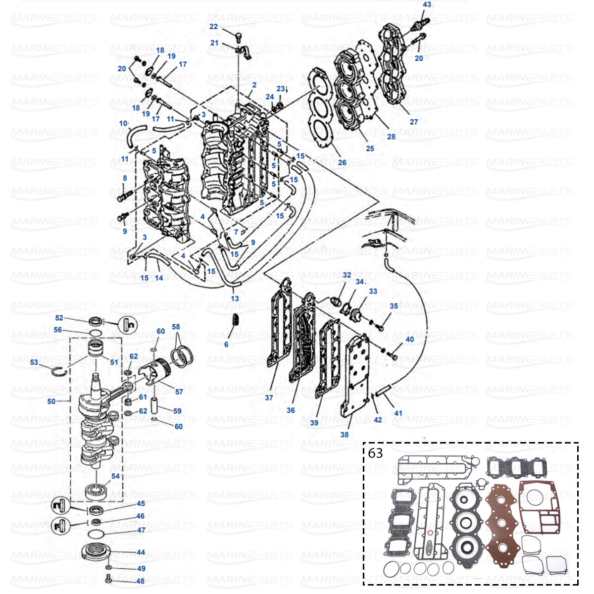 Moottorin Sisaosia Yamaha 50g 60f 60t 70b 70t