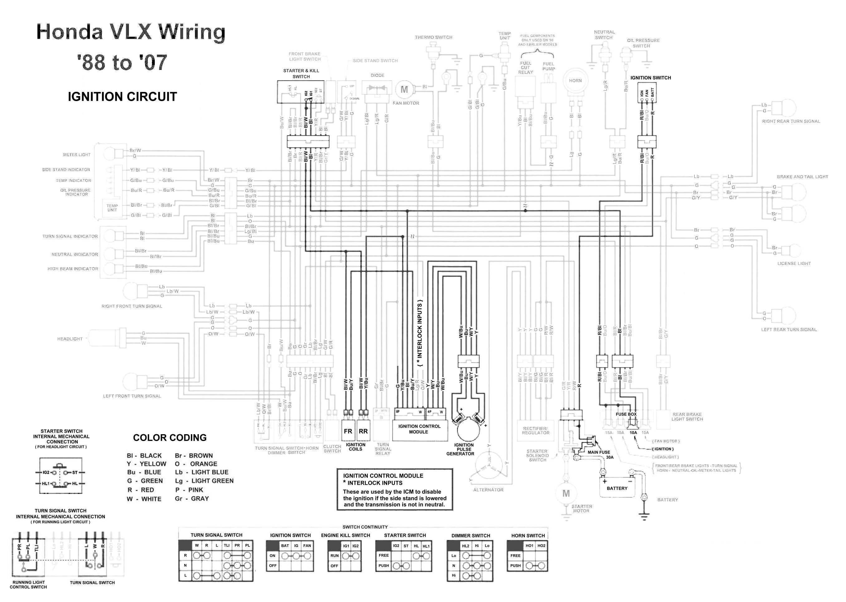 Honda Shadow Vt600 Vlx 600 Ignition Circuit Diagram