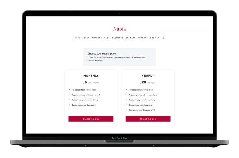 Nubia Pricing Page