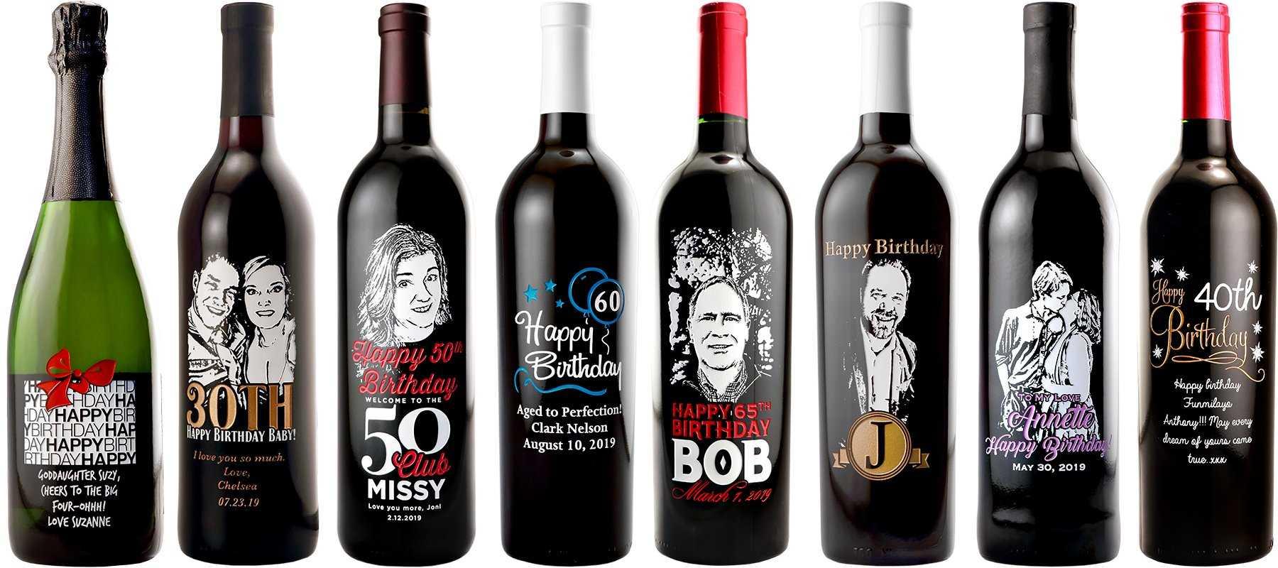 Personalized Happy Birthday Wine Bottles Custom Labels Etchingx