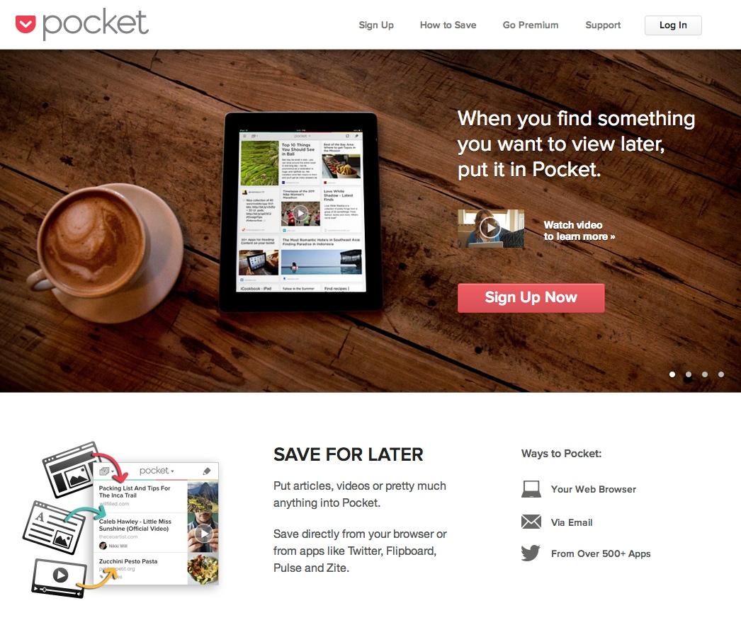 Pocket Landing Page Copy