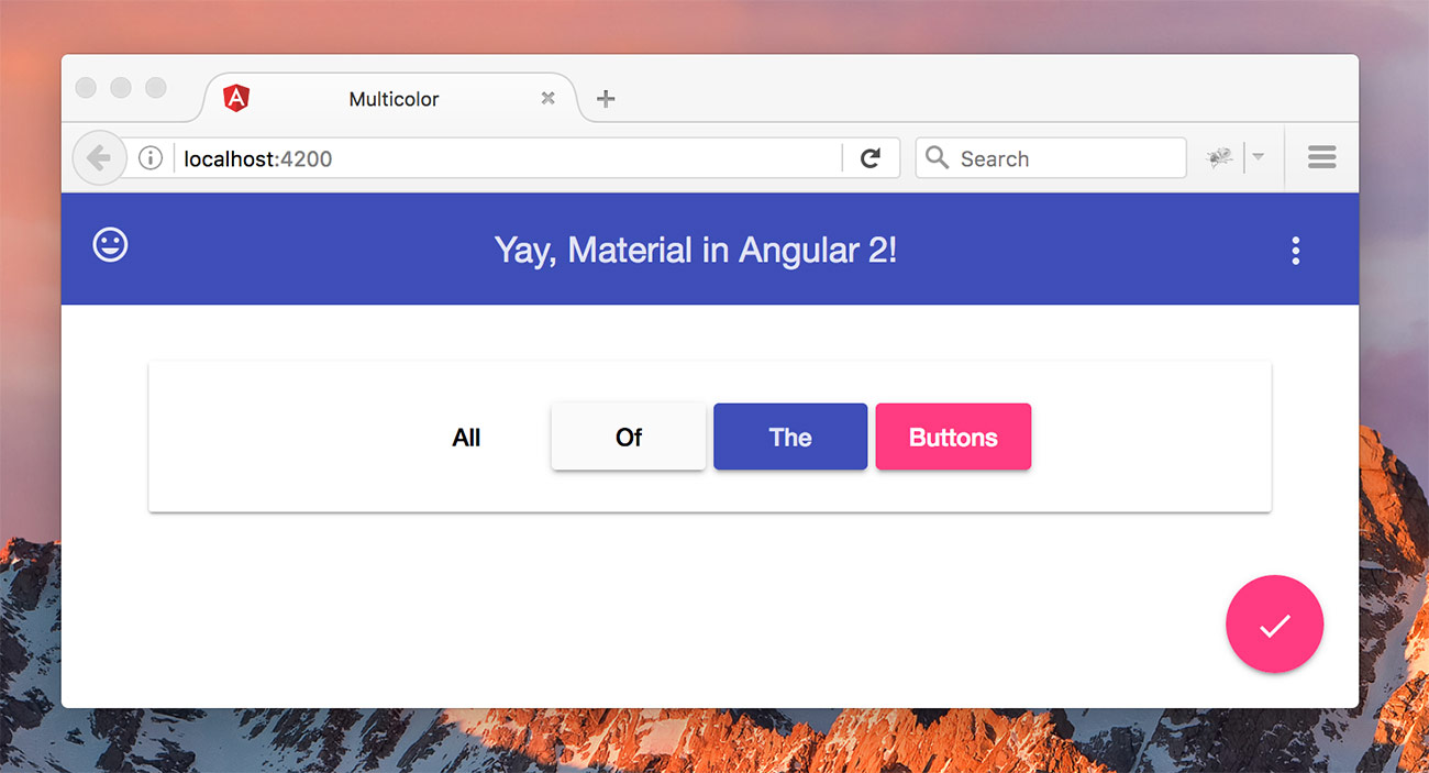 Our sample Angular Material Design app
