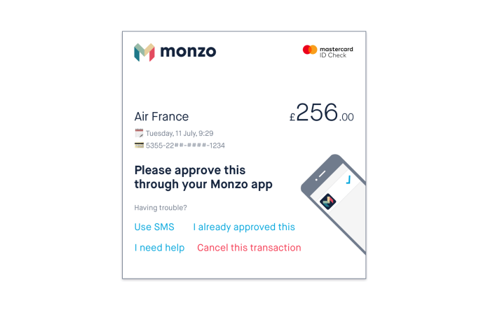 3D Secure to prevent fraud or misuse on monzo-fernandocheng