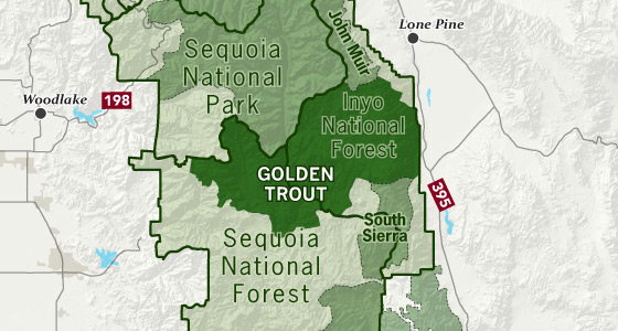 sierrawild gov area map of Golden Trout Wilderness