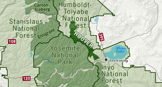 sierrawild gov area map of Hoover Wilderness
