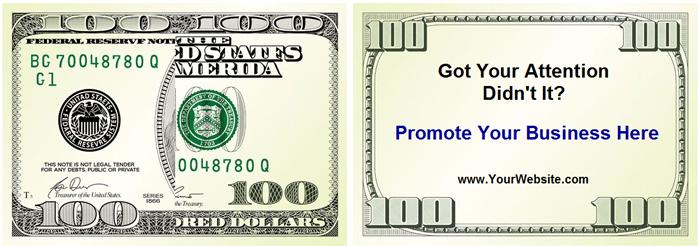 100 dollar bill drop card marketing