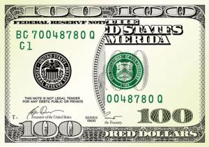 100 dollar bill drop card