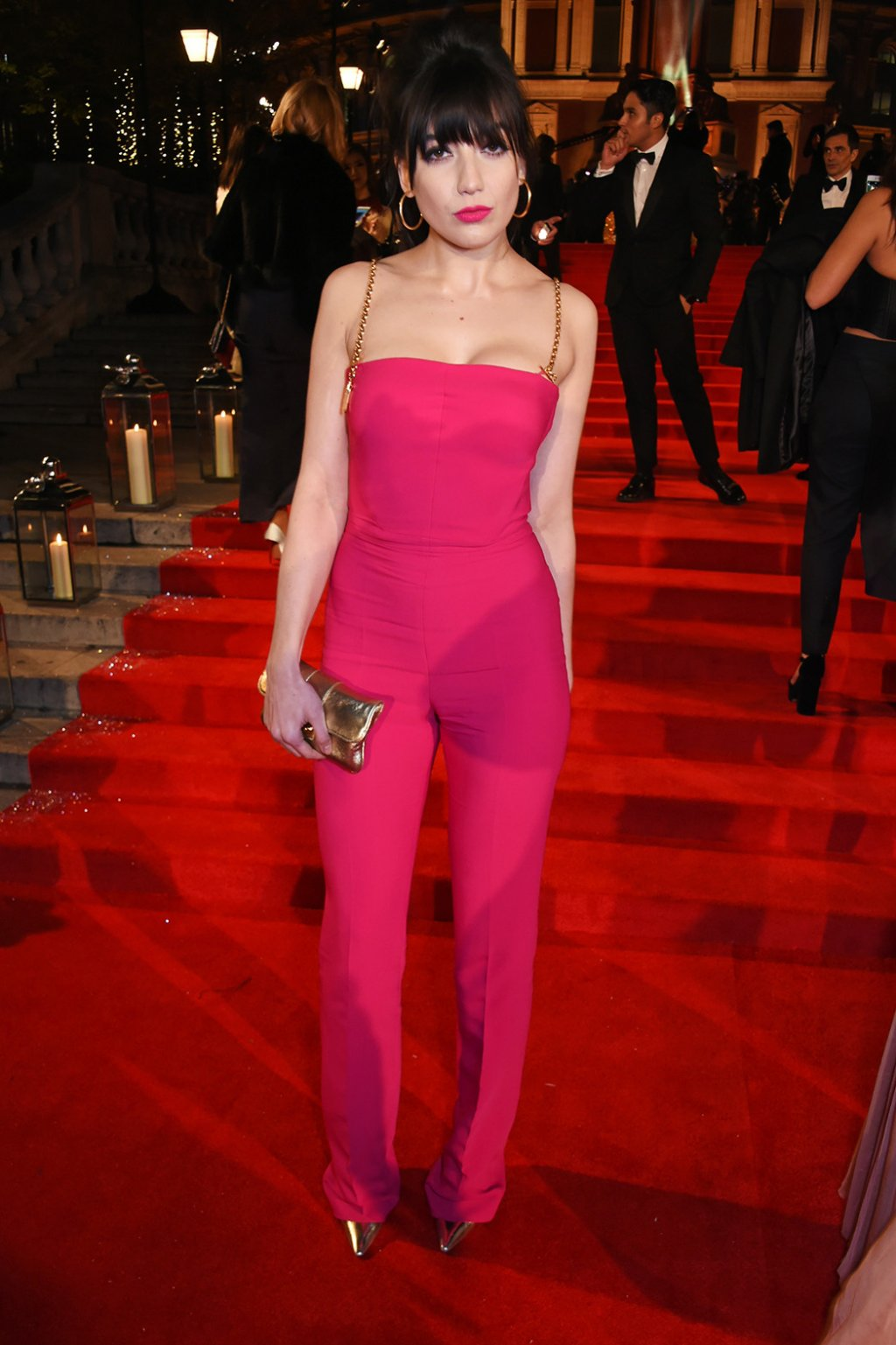 Fashion model Daisy Lowe in a pink jumpsuit