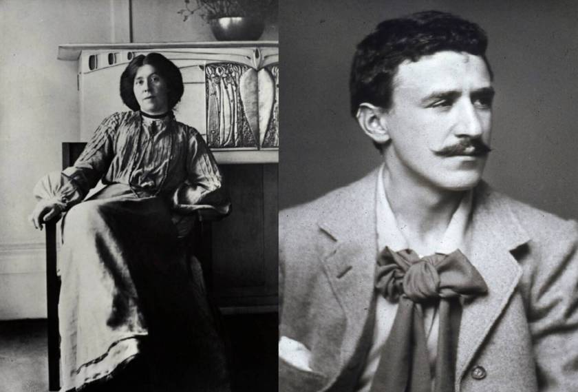 Two black and white photos side by side: on the left is a woman in a long dress sitting on a chair in front of a fireplace: the photo on the right shows the head and shoulders of a young man with dark hair. He has a distinctive moustache and a cravat.