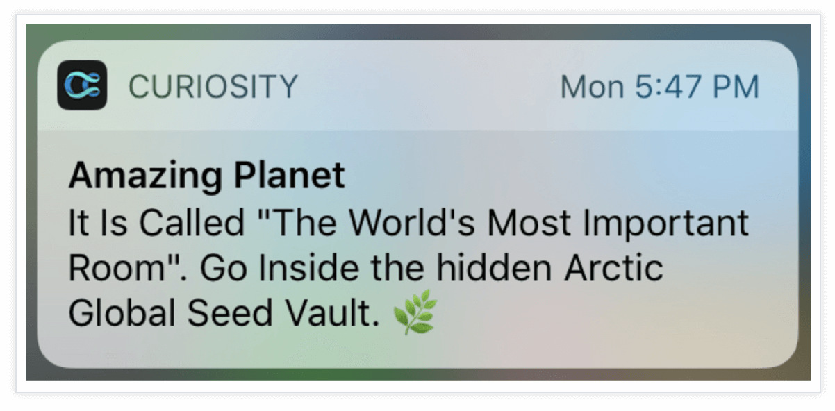 Curiosity Push Notification