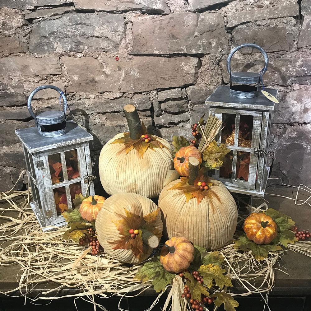 Memories Of Elaine Handcrafted Brown Corduroy Pumpkins Set Of 3 Wooden Duck Shoppe