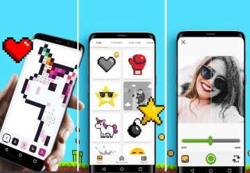 unicorn aplikasi mewarnai dalam bentuk piksel