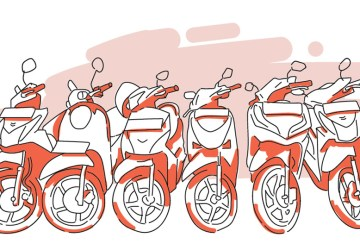 cara parkir sepeda motor