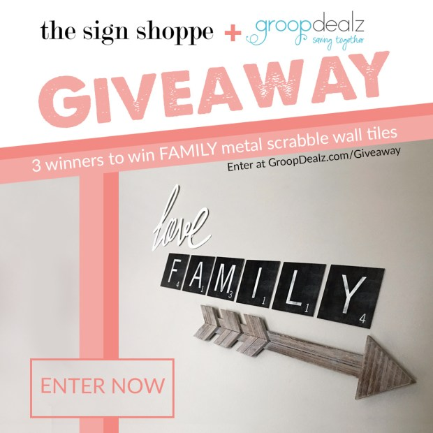 Win a FAMILY scrabble metal wall signs from The Sign Shoppe