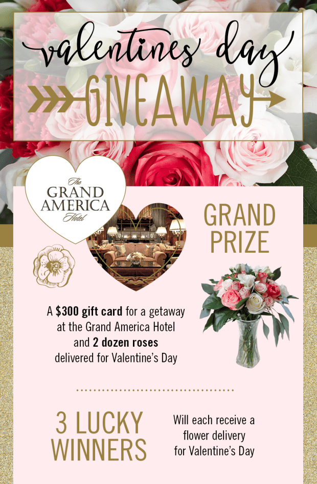 Grand Prize: $300 gift card and 2 dozen roses. 3 Lucky winners: a flower delivery