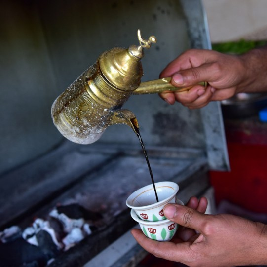 Turkish coffee pour