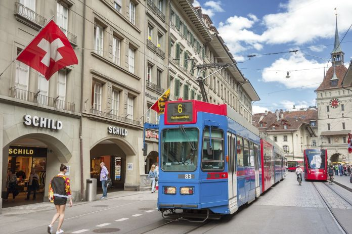 Streets in the old medieval city of Bern, Switzerland