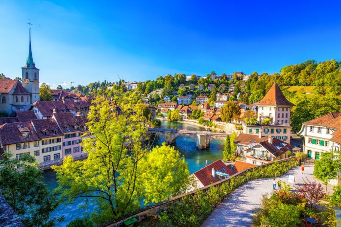 View of Bern old city center with river Aare. Bern is capital of Switzerland and fourth most populous city in Switzerland