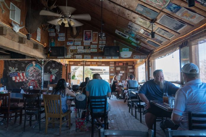 Interior of Pappy & Harriet's restaurant and music venue near Joshua Tree National Park in Pioneertown, California