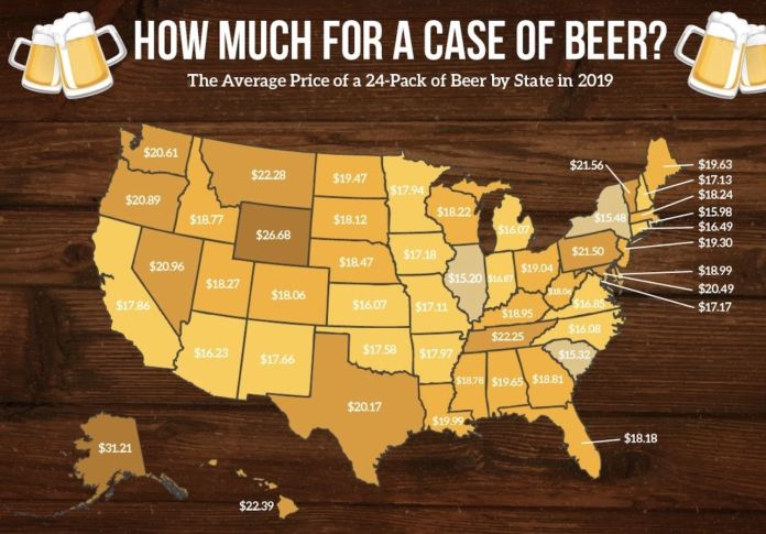 map of 24-pack cost per state