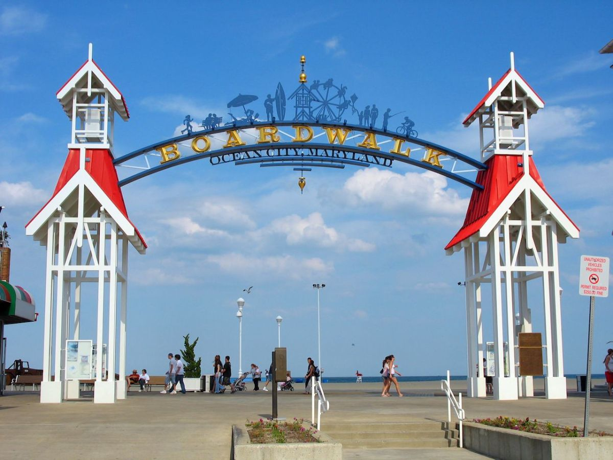 The famous public BOARDWALK sign located at the main entrance of the boardwalk in Ocean City, Maryland. - Image