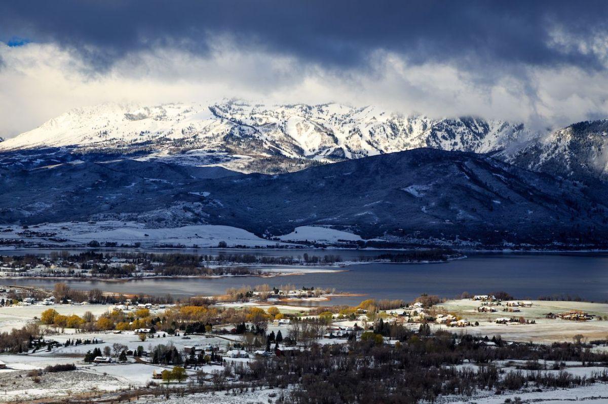 Snowy morning in Ogden Valley, Utah, USA