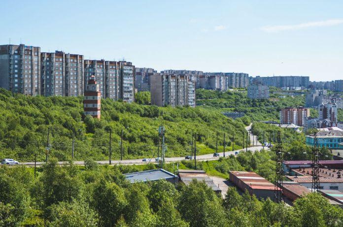 Apartment blocks in Murmansk, Russia
