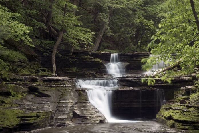 A beautiful waterfall in one of New York's many gorges in the finger lakes region