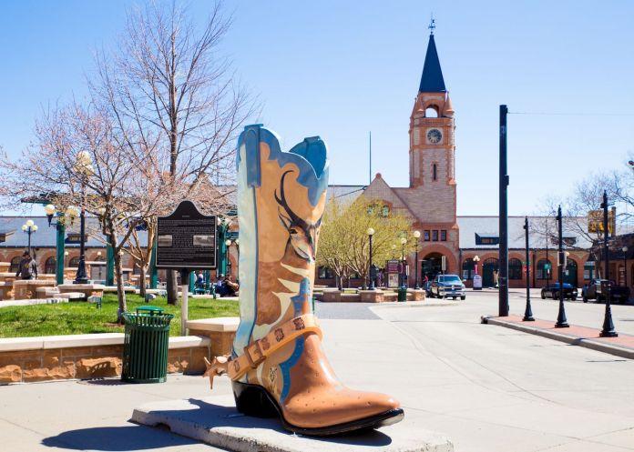 Big boot in downtown Cheyenne, Wyoming