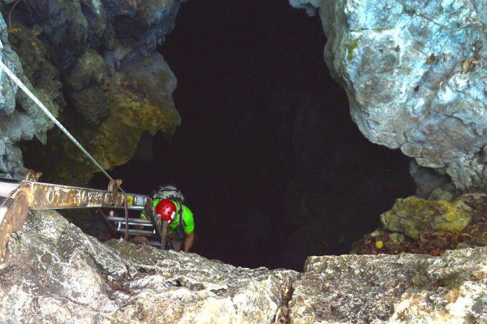 Caver descending into Costa Rica's Barra Honda caverns