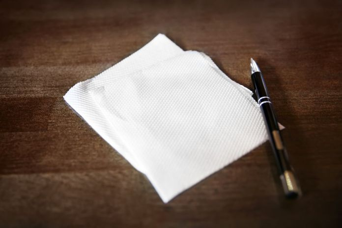 Napkin and pen