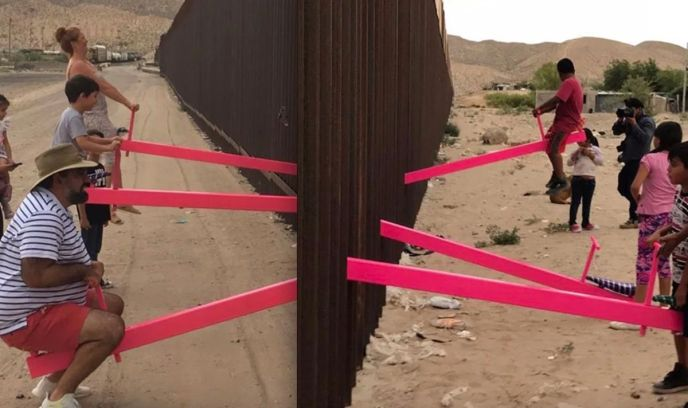Mexico border wall seesaw