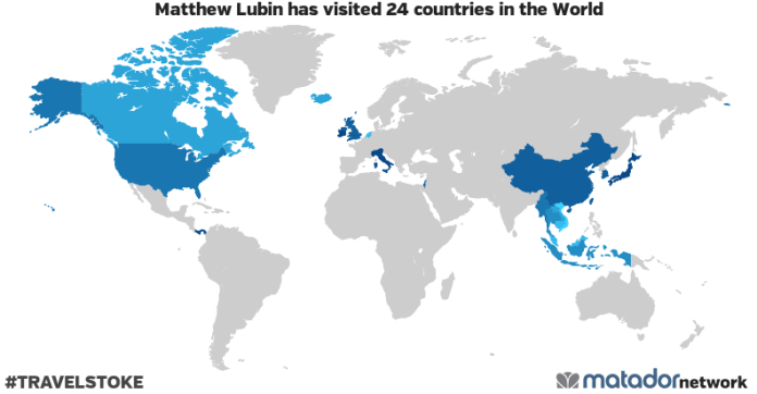 Matthew Lubin's Travel Map