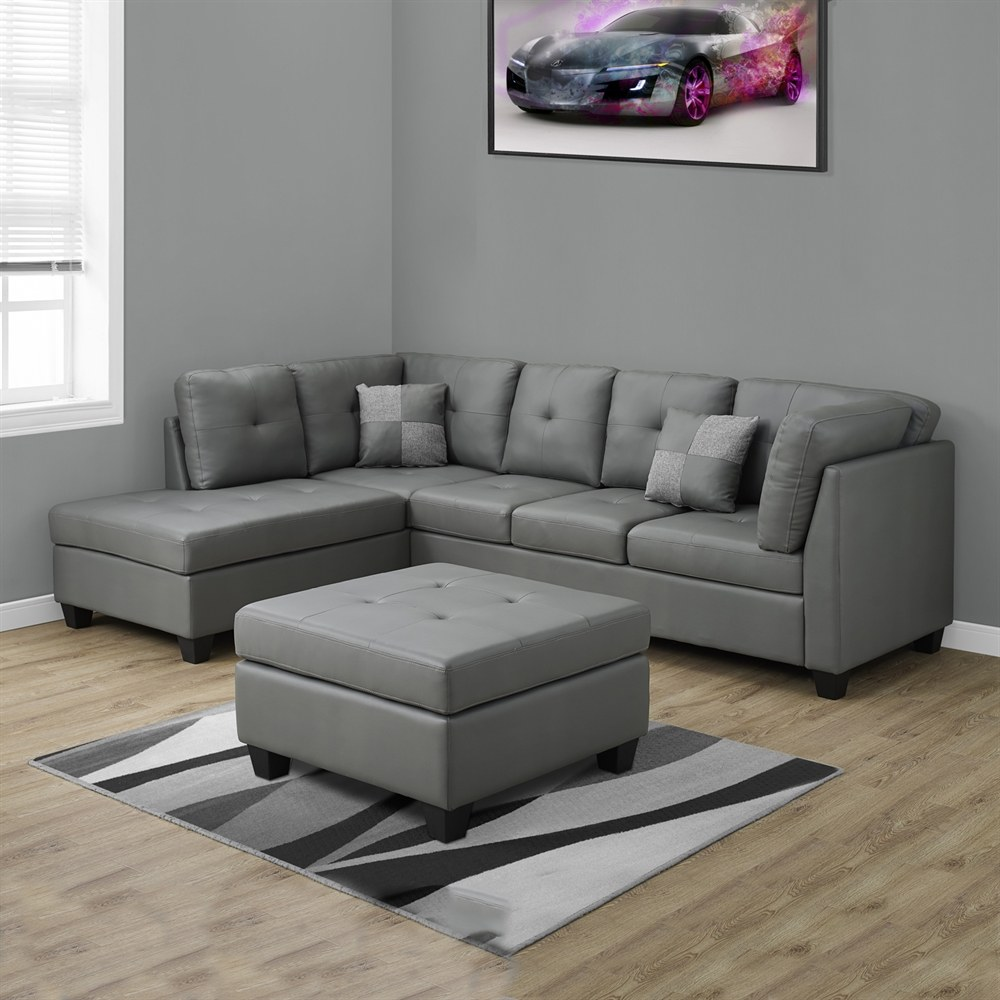 bonded leather sectional sofa with light grey bonded leather upholstery by monarch specialties