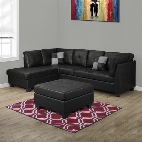 bonded leather sectional sofa with black bonded leather upholstery by monarch specialties