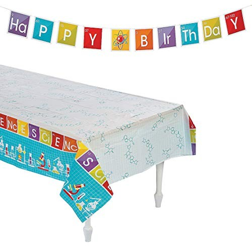 Science Kit For Kids Birthday Party Favors Supplies Tablecloth Size 54 X 108 And Happy Banner 90 7 Scientist Decorations Table Cover Accessory By 4es Novelty Educational Toys Planet