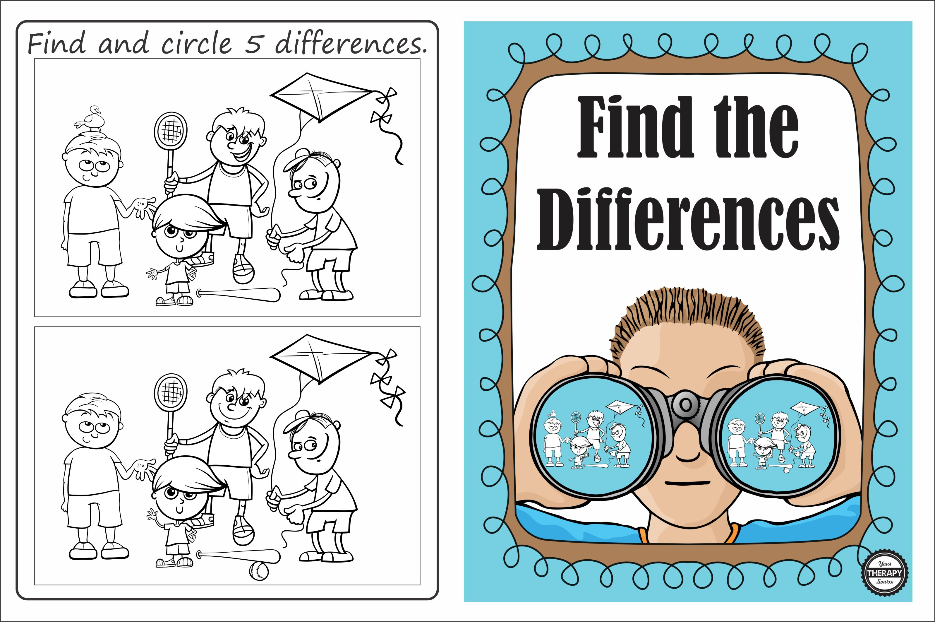 Find And Circle 5 Differences Outdoor Fun