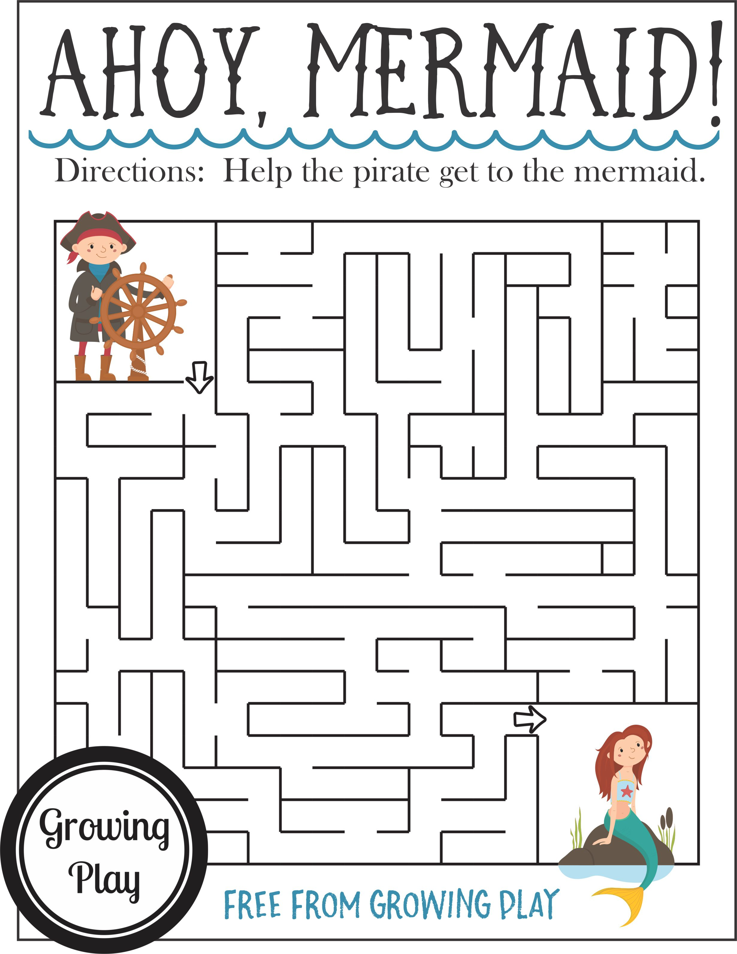 Pirate Birthday Games Activities Puzzles Mazes