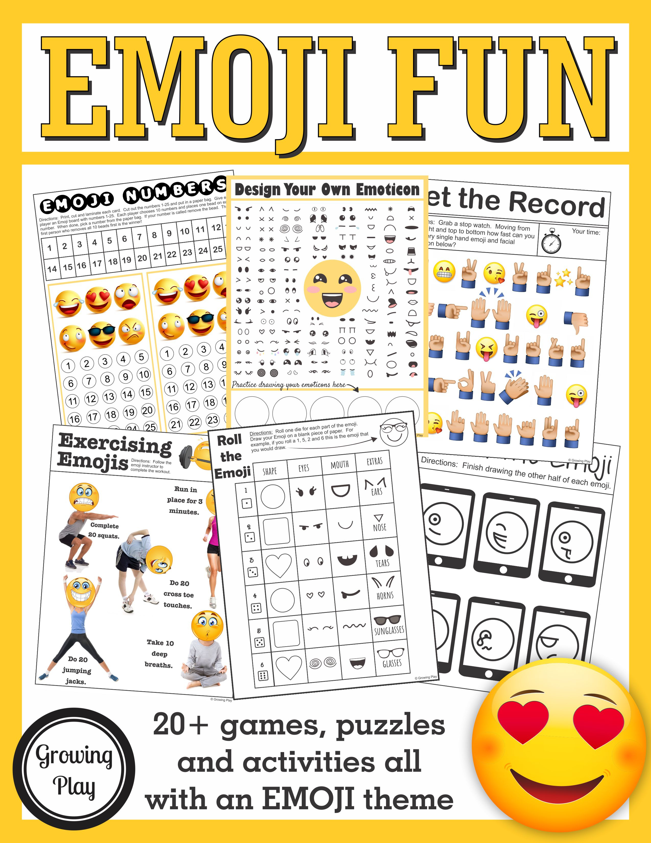 Emoji Games And Puzzles Packet Emoji Birthday Parties