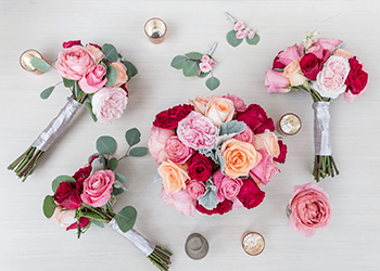 Enjoy Flowers   Wedding Flowers Flame This passionate pink collection with a touch of red and peach brings the  colors of love to a summer wedding or vintage themed event