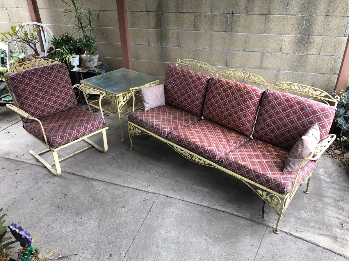 vintage meadowcraft yellow painted cast iron patio furniture including 1 chair 1 sofa 1 table w glass top estatesales org