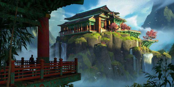 Konzeptgrafik aus EndofDragons, die ein canthanisches Gebäude auf einem von Nebel umgebenen Felsen zeigt.