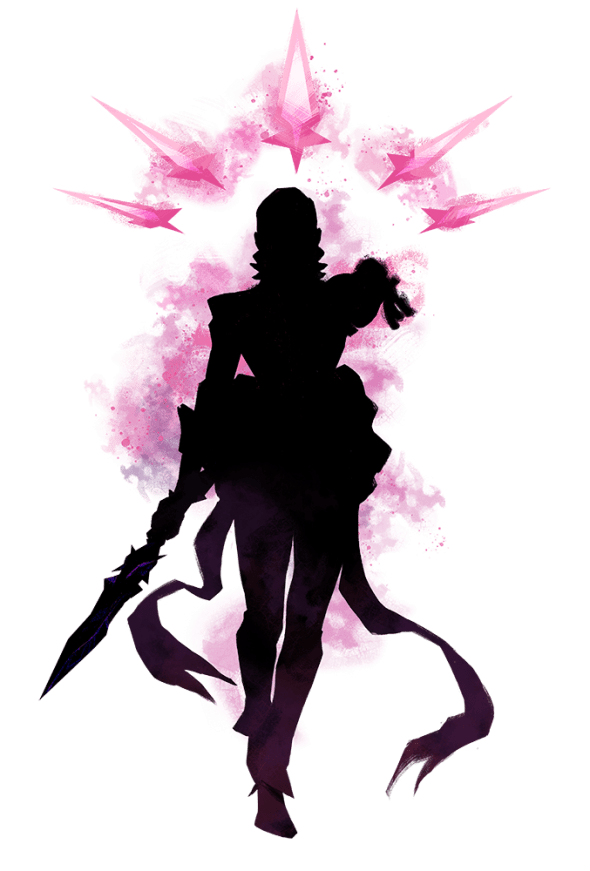 Die Silhouette einer geheimnisvollen Gestalt mit magischen pinken Klingen.