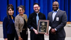 (From L to R) Roberta Ciuffo West, TPAC Executive Vice President for Education & Outreach; Dr. ReGina Etters, Metro Schools Coordinator of Magnet School Curriculum; Adam Prouty, fourth-grade teacher at Warner Elementary Arts Magnet School; and Dr. Ricki Gibbs II, Principal of Warner Elementary Arts Magnet School.
