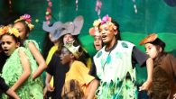 students singing and dancing in animal and plant costumes