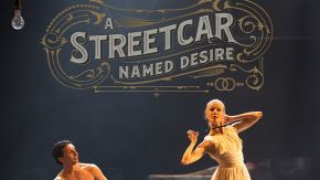 man and woman on stage in A Streetcar Named Desire
