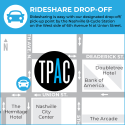 Rideshare Drop-Off/Pick-Up point is by the Nashville B-Cycle Station on the West side of 6th Avenue North at Union Street