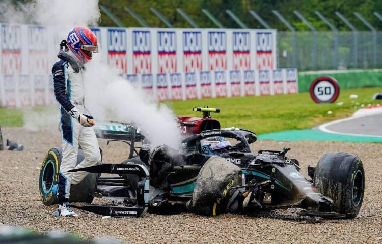 Valtteri Bottas puts full blame on George Russell for Imola shunt | PlanetF1