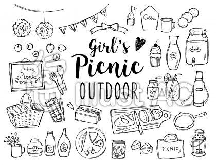 ピクニック、遠足、無料イラスト、サンドイッチ、キャンプ、無料イラスト、線画